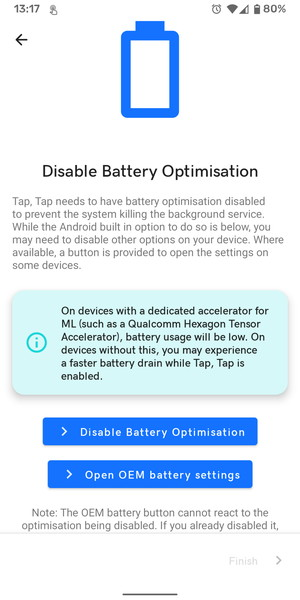 アプリのバッテリー最適化設定